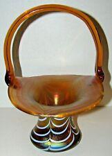 Vintage Peach Aurene Iridescent Art Glass Basket Pulled Feather