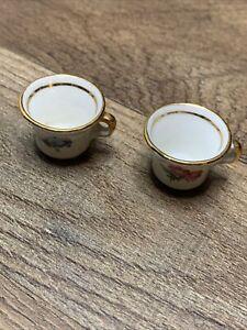 Dollhouse Miniature Ceramic Tea Cups (2) Pieces Vintage Floral