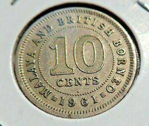 Lot of (2) 1961 MALAYA BRITSH BORNEO 10 CENTS