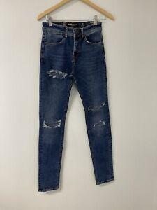 Men's NWT Bershka Slim Extra Skinny 29x31 Ripped Jeans Denim Stretch N225