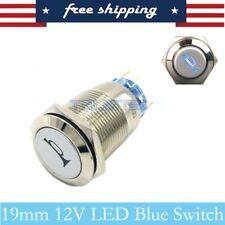 12V 19mm Momentary LED Marine Car Horn Push Button Light Switch blue