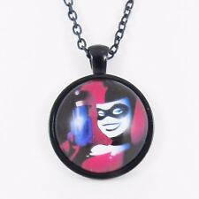 HARLEY QUINN NECKLACE batman emo scene dc joker gun retro comic glass