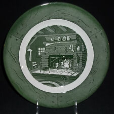 1-10 inch Green Colonial Homestead by Royal China Dinner Plate