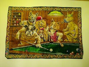 Vintage velvet Tapestry Wall Hanging DTC Dogs Playing Pool Billards Rare 56 X 38