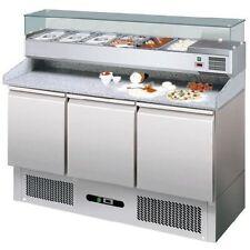 Banco Pizza Refrigerato Tavolo Frigo inox 3 Porte + Vetrina Refrigerata e granit