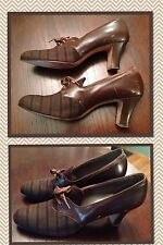 """Vintage Krippendorf 1940's Women's Shoes 2.5"""" Heels Brown Lace Up Granny Oxford"""