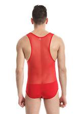 Body débardeur rouge taille L/XL [ 175-185 cm ] sheer sexy Ref 329 combinaison