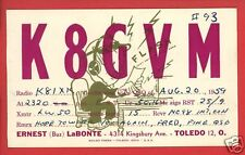 HAM RADIO OPERATOR LABONTE TOLEDO OH 1959  POSTCARD