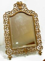 "Antique Art Nouveau Vanity Dresser Mirror Ornate Filigree Greek BACCHUS 21""x14"""