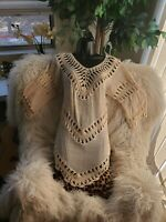 Womens Boho Crochet Ivory 3/4 Sleeve Earthbound Tunic Top Sz M Blouse Cover Up
