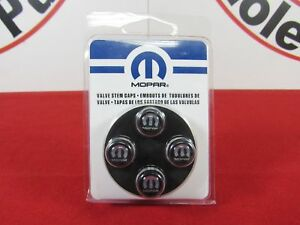 DODGE RAM CHRYSLER JEEP Black Valve Stem Caps With Silver Mopar Logo OEM MOPAR