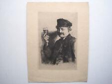 Wilhelm Leibel Der Trinker Radierung auf aufgewalztem China Originalgrafik 1874