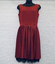NEW Italian Sleeveless Fit & Flare Mini-Pleated Lace V-Back Burgundy Sz XS/S