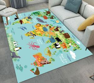 Floor Mat Kids Bedroom Carpet Living Room Area Rugs Cartoon Animals World Map