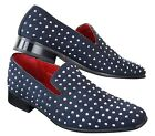 Mens Suede Slip On Loafers Shoes Stud Spikes Silver Smart Casual Shiny Party