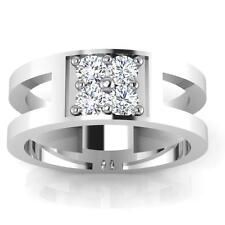 0.49 Ct Diamond Engagement Mens Rings Solid 14K White Gold Natural Band Size T