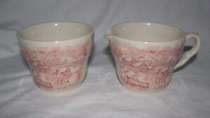 pink or blue transferware SUMMER ON THE HOME FARM sugar & creamer Vintage toile