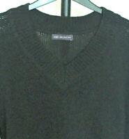 M&S Collection Size S (UK 8-10) Black V Neck Cotton Alpaca Wool Blend Jumper