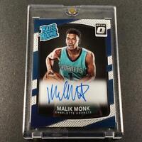 MALIK MONK 2017 PANINI DONRUSS OPTIC #190 AUTO RATED ROOKIE RC HORNETS NBA
