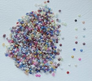 Mixed 3mm or 4mm Flat Back Half Round Pearls, Embellishments, Card making