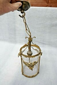 Vintage French 1930s Brass Porch/Hallway Lantern Light Original glass Chain+Hook