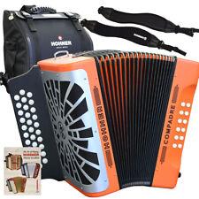 Hohner COMPADRE GCF Sol 31 Button Orange Diatonic Accordion + Bag, Strap, Book