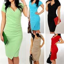 Women's Fashion Short Sleeve V-neck Draped Design Dress Slim Pencil Dress NEW LG