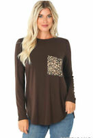 Women's Brown Round Neck Long Sleeve w/Leopard Pocket Perfect Fit Tee Shirt Top
