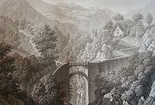 PIRINGER : PONT DE LARTIGUE, pres de SIA. Aquatinte originale de 1826. 1826