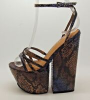 FAB LADIES JEFFREY CAMPBELL FOR REAL BLUE COFFEE SNAKE DESIGN HEELS SANDALS 4- 7