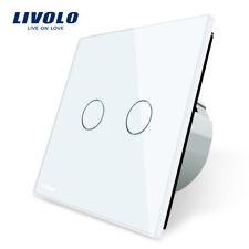 Livolo 2 Gang 1 Way Wall Touch Switch, White Crystal Glass Switch Panel, EU Stan