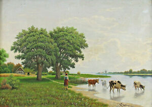 Signed G. Armuß - Cows Cow IN River Windmill North Germany Holland?