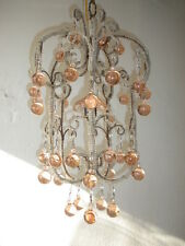 c 1920 French Pink Bobeche Murano Drops Crystal Prism Macaroni Swags Chandelier~