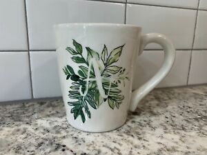 """Pier 1 Stoneware White Green Floral Initial Letter """"A"""" Cup/Mug"""