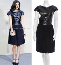 CHANEL 14A 14F Black Metallic Wool Leather Top Tweed Dress Leather Dress F38 NEW