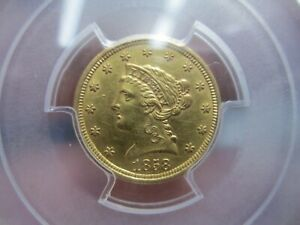 RARE 1858 2.5 DOLLAR LIBERTY GOLD COIN IN PCGS UNCIRCULATED CONDITION CLEANED