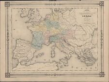 1835 AH Dufour Antique Map of Europe under the Emperor Charlemagne