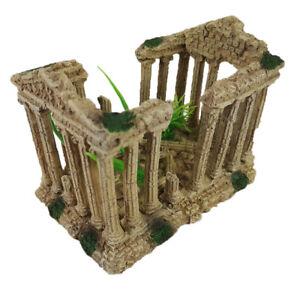 Aquarium Roman Column Pillar Greek Ruins Fish Tank Ornament - 1844E1