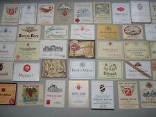 Lot of 42 Old Vintage FRENCH & European WINE LABELS - BORDEAUX - BOURGOGNE +