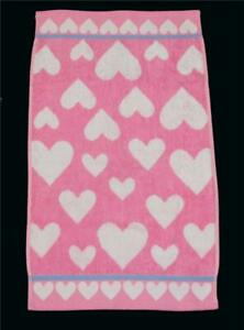 Betsey Johnson White CRAZY HEARTS Lavender Trim Pink Terry Loop Hand Towel NWOT