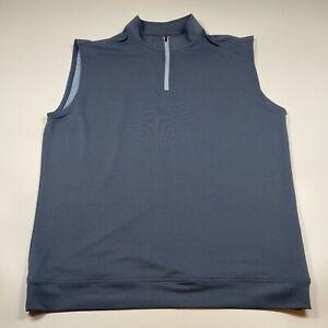 Peter Millar Crown Sport 1/4 Zip Blue Sleeveless Golf Shirt Men's Size LT