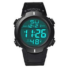 Running Stopwatch Waterproof Men's Boy Rubber Digital Date Sport Wrist Watch