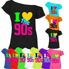 I Love The 90s Top T-shirt Pop Retro 90's Music Ladies Off Shoulder 6685 Lot