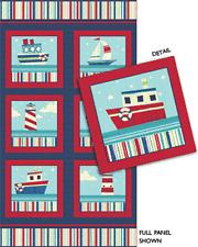 "Ship Ahoy Panel by Kanvas Bernatex 100% Cotton Quilt Fabric 24"" x 42"" Lighthouse"