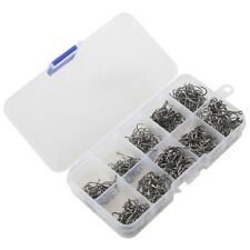 500pcs Fish Jig Hooks with Hole Fishing Tackle Box 10 Sizes Carbon Steel J7C3
