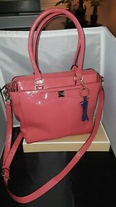 Kate Spade Coral pinkish Patent Leather Tote Satchel Bag Stunning
