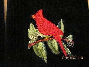 Set of 2 black fingertip towel w/fringe~w/embroidered cardinal
