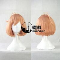 Kuriyama Mirai anime cosplay wig free shipping 35cm short orange