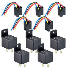 5Pack 12V 40A 40 A SPST Relay & Socket 4Pin 4P 4 Wire Black for Car Auto