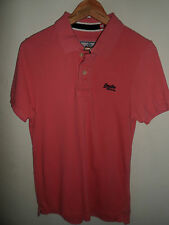 Mens SUPERDRY Polo Shirt Slim Fit T-Shirt Peach With Logo's Size Medium M